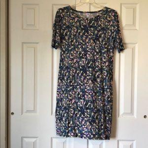 LuLaRoe Blue-Pink-Yellow Julia Dress 2XL Like New